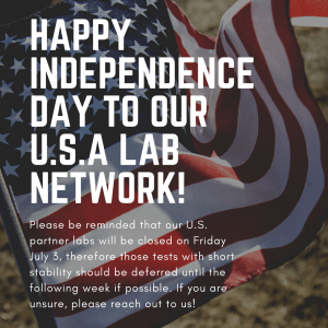 Happy Independence Day US Partner Lab Closure Notice Image